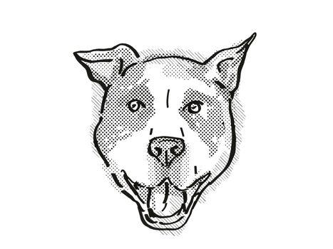 American Pit Bull Terrier Dog Breed Cartoon Retro Drawing