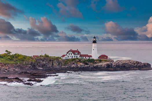 Portland Head Lighthouse in Blue Dusk Sky