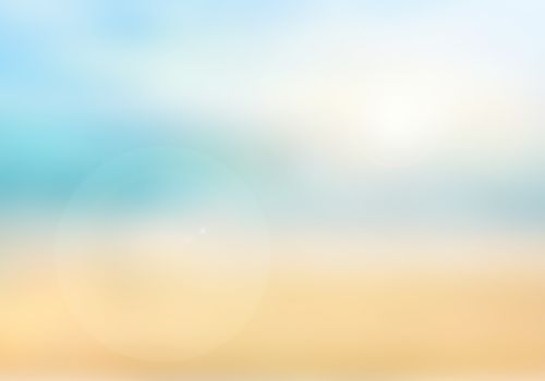 Blurred nature background. Background with beaches, turquoise waters and white clouds, and a bright sun light. Summer holiday concept.