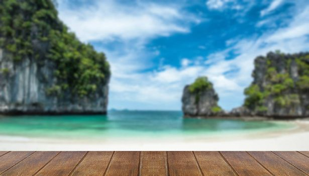 Blurred,Hong island with crystal clear water and white sand blue sky is in Krabi.,Thailand.