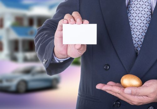 Businessman offer  business card to persuade investors