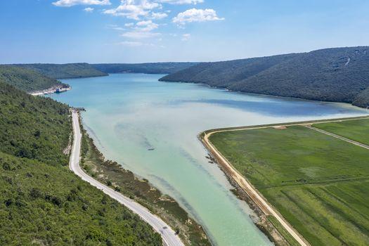 an aerial view of Rasa bay, place of inflow river Rasa in Adratic sea, Istria, Croatia
