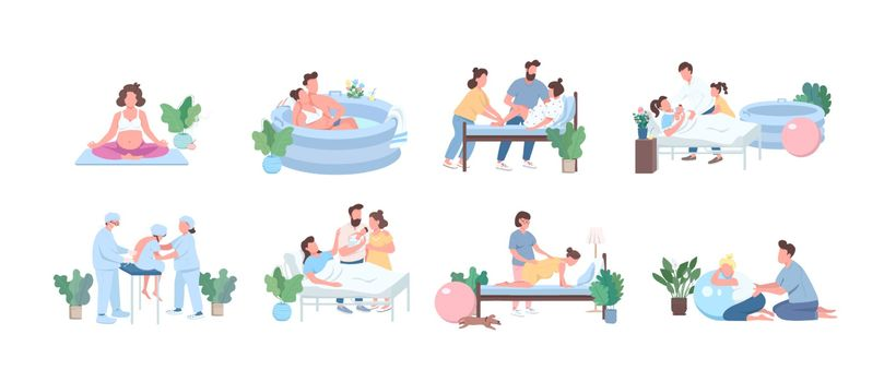 Alternative birth flat color vector faceless character set. Training for pregnant woman. Young couple with baby isolated cartoon illustration for web graphic design and animation collection