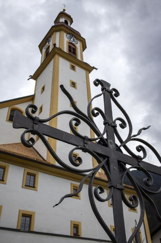 cross and a church