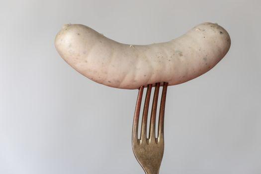 bavarian white sausage on white background