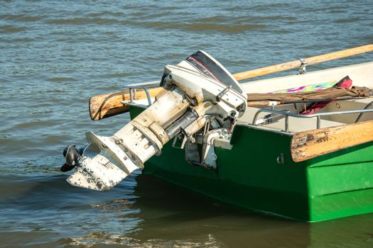 Motor engine outboard propeller equipment for motorboat. Power,