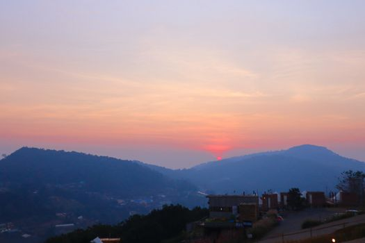 Colourful Sunset Over Panoramic Mountain in Chiang Mai, Thailand. The mountain scenery view