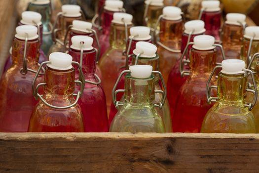Glass bottles on retail display
