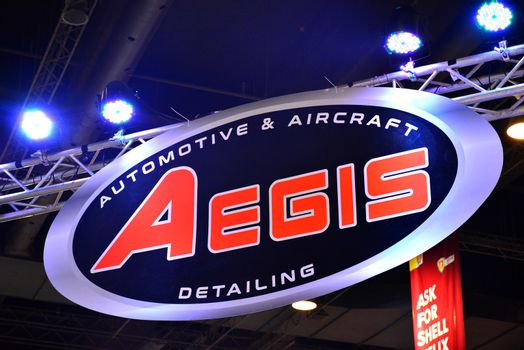 Aegis detailing sign at Trans Sport Show in Pasay, Philippines