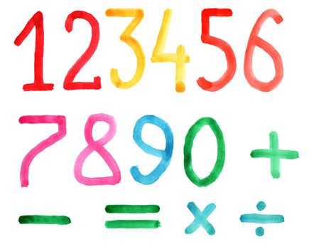 Set of numbers and arithmetic signs, watercolors