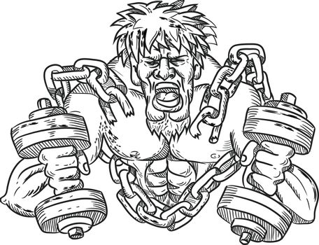 Muscular Male With Dumbbells Breaking Free From Chains Drawing