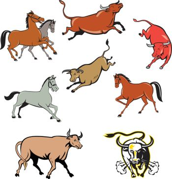 Set or collection of cartoon character mascot style illustration of farm animals such as horse, cow, bull, cattle, texas longhorn bull charging on isolated white background.