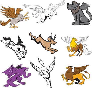 Fabulous Beast Cartoon Set