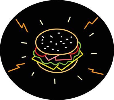 Cheeseburger Retro Neon Sign Oval