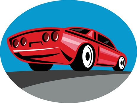American Muscle Car Oval Retro