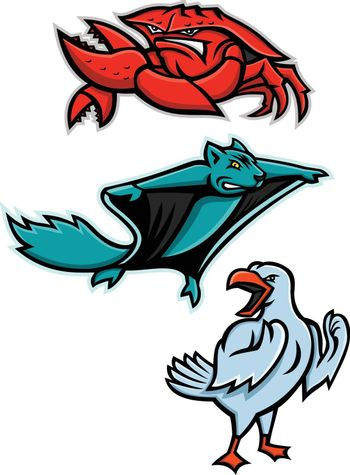 Mascot icon illustration set of angry animal wildlife like the red king crab or land  crab, northern flying squirrel and gull or seagull on isolated background in retro style.