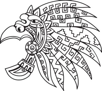 Aztec Feathered Headdress Drawing Black and White