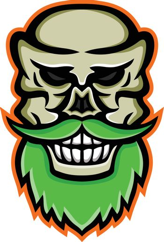 Bearded Skull or Cranium Mascot