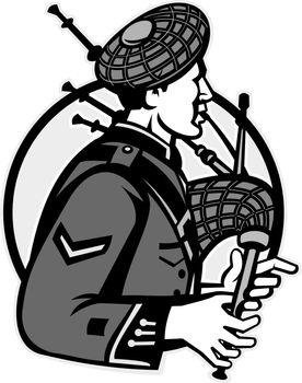 Bagpiper Bagpipes Scotsman Grayscale Retro