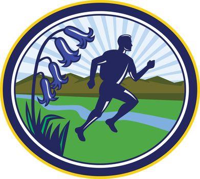Cross Country Runner Oval Retro