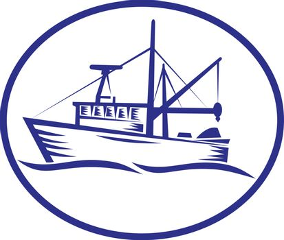 Commercial Fishing Boat Oval Woodcut