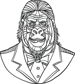 Gorilla Wearing Tuxedo Bust Monoline