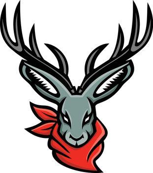 Jackalope Wearing Bandanna Mascot