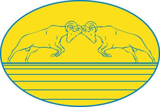 Bighorn Sheep Ram Butting Heads Drawing