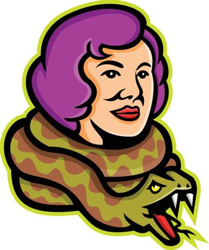 Circus Freak Snake Lady Mascot