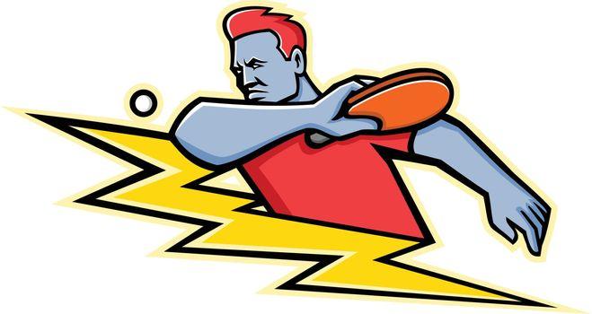 Table Tennis Player Lightning Bolt Mascot