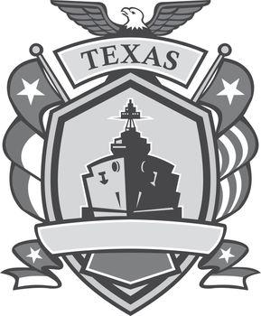 Texas Battleship Badge Grayscale