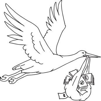 Stork Delivering Money Bag Drawing