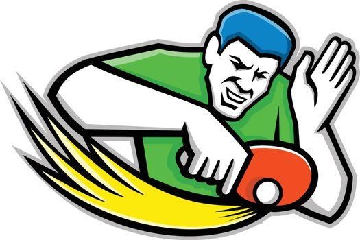 Table Tennis Player Blocking Mascot