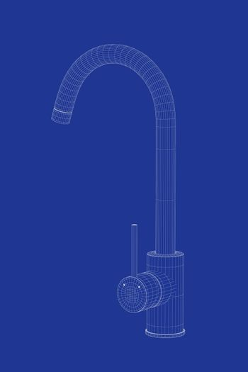 3d wire-frame model of kitchen faucet on blue background