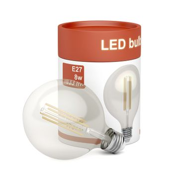 LED light bulb with plastic box on white background