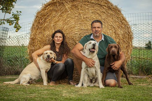Man and woman plays with labrador dogs in countryside