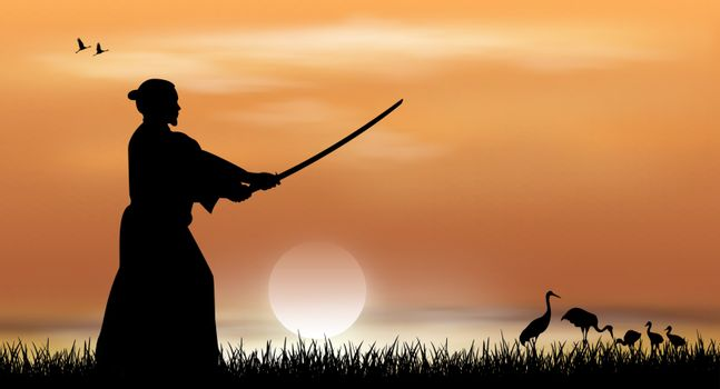 Samurai stands with a sword in his hands against the backdrop of a sunny sunset. Japanese landscape.