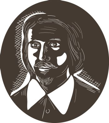 Illustration of a 16th century poet man viewed from front set inside oval shape done in retro woodcut style.