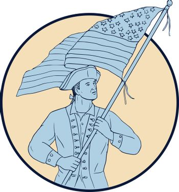 Drawing sketch style illustration of an american patriot carrying waving usa flag looking to the side viewed from front set inside circle.