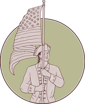 Drawing sketch style illustration of an american patriot standing in full attention carrying usa flag looking to the side viewed from front set inside circle.