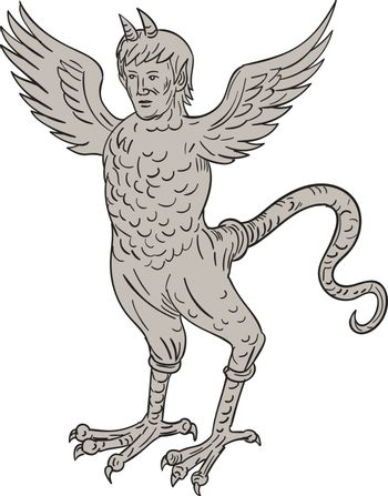 `Drawing sketch style illustration of an ancient 16th century monster with horned human head body of an eagle and serpentine tail standing viewed from front set on isolated white background
