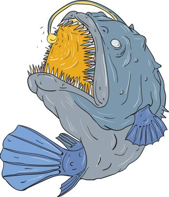 Drawing sketch style illustration of an Anglerfish of teleost order Lophiiformes that are bony fish named for their characteristic mode of predation, which a fleshy growth from fish's head (the esca or illicium) acts as a lure, swooping up viewed from the side set on isolated white background.