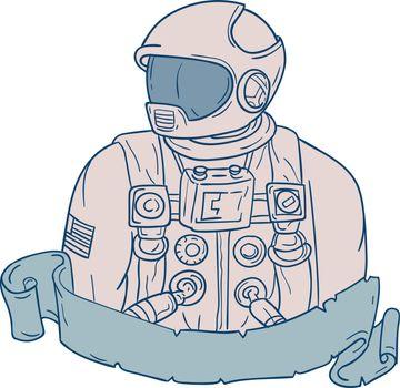 Astronaut Bust Ribbon Drawing