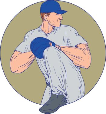 Drawing sketch style illustration of an american baseball player pitcher outfilelder about to throw a ball viewed from the side set inside circle on isolated background.