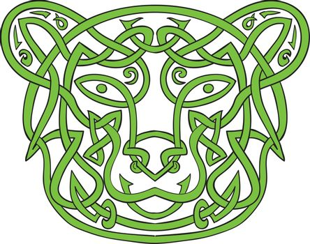 Illustration of stylized bear made in Celtic knot, called Icovellavna,  plait work or knotwork woven into unbroken cord design.