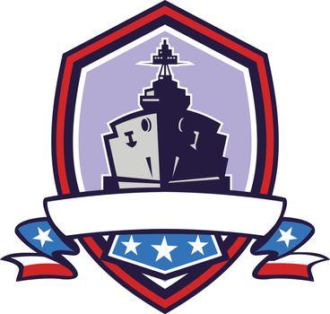Battleship Stars Stripes Crest Retro