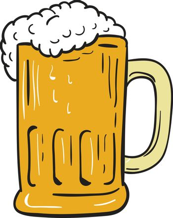 Drawing sketch style illustration of a beer mug with beer froth set on isolated white background.