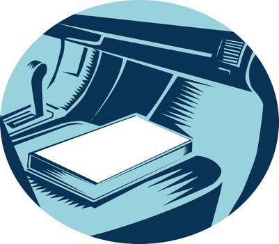 Book On Car Seat Oval Woodcut