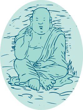 Drawing sketch style illustration of Gautama Buddha, also known as Siddhartha Gautama, Shakyamuni Buddha, an ascetic and sage in lotus sitting pose set inside oval.