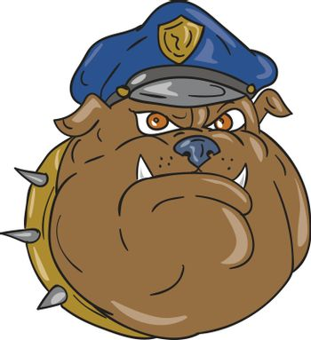 Illustration of a bulldog policeman police officer head viewed from front set on isolated white background done in cartoon style.